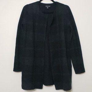 Eileen FIsher Wool Plaid Open Front Jacket, sz XXS